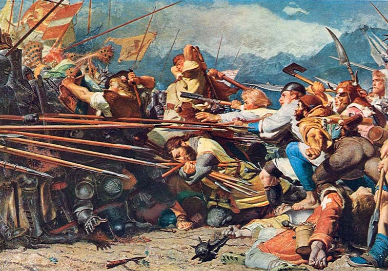 365 x Sempach Scène de la bataille de Sempach peinture de Conrad Grob