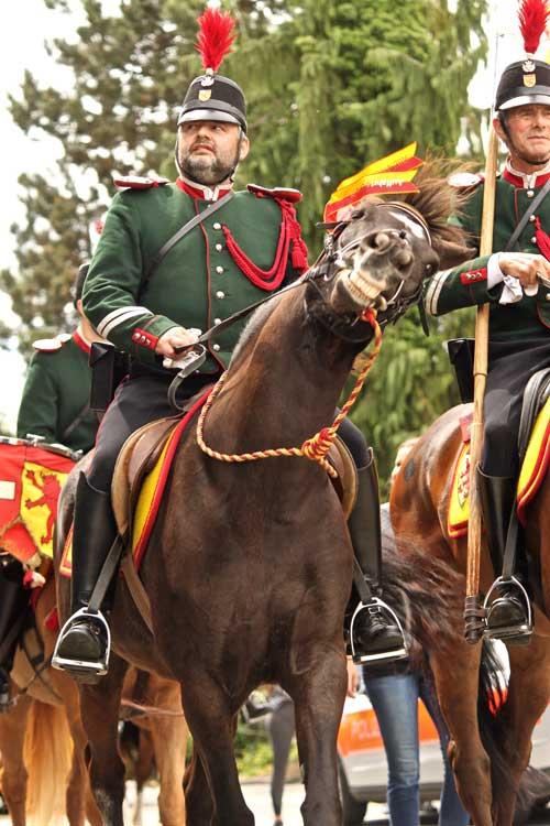 365 x Sempach Musicien à dos de cheval dans le cortège de l'Ascension