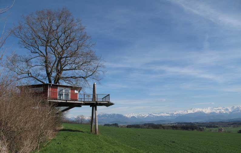 Cabane dans un arbre avec vue sur les Alpes